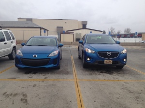 I love my bright blue Mazda. Guess which one is mine!