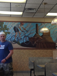 Look at that mural... and that guy's shirt. As I said before... Interesting things in Moab...