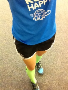 My OOTD. BrooksRunning Run Happy Shirt and Pure Cadence Shoes, Nike Running Shorts, and PRO Compression Marathon Socks!