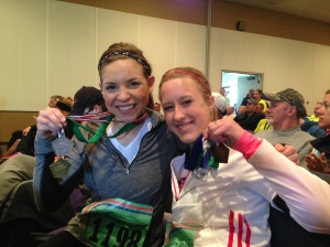 "Us with our ""Finisher"" medal and our silver and gold medals!"